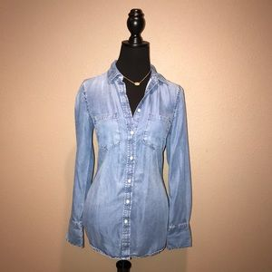 Merona Long Sleeve Jean Button Down Top
